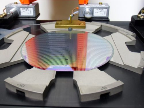 wafer in tray after wet bench production